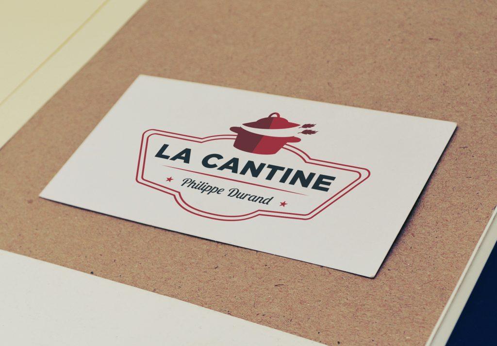 Carte de visite avec le logo du restaurant La Cantine
