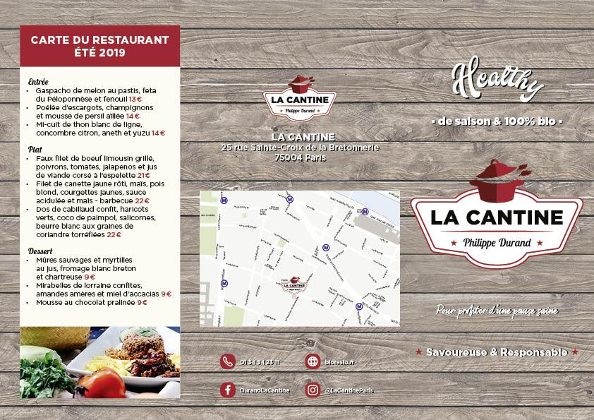Recto du dépliant promotionnel pour le restaurant La Cantine