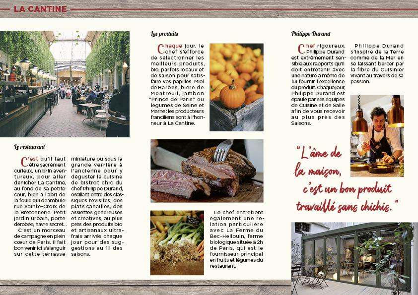Verso du dépliant promotionnel pour le restaurant La Cantine